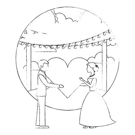 bride and groom with heart wedding day in natural scene vector illustration sketch Foto de archivo - 114995217