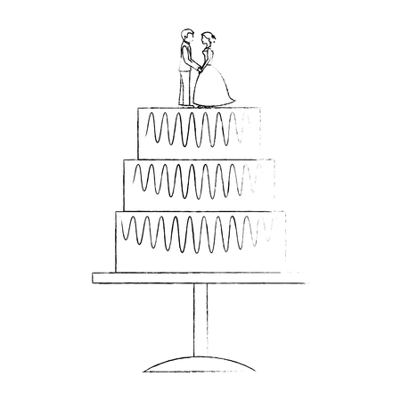 sweet wedding cake with couple dolls decoration vector illustration sketch