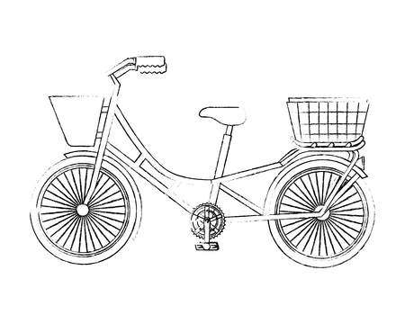 classic bicycle with basket recreation vector illustration sketch 일러스트