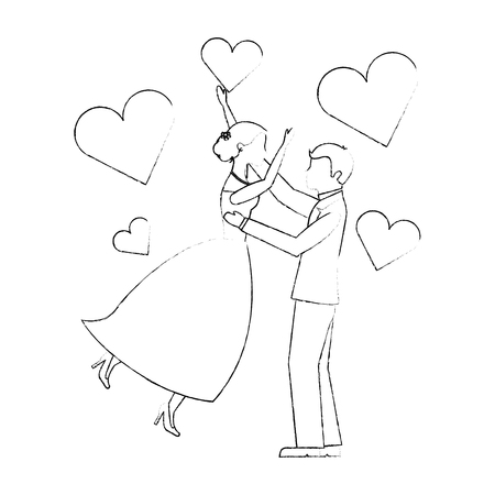 bride and groom wedding day and first dance love hearts vector illustration sketch