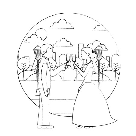 couple toasting wine glasses wedding day in the park city vector illustration sketch Иллюстрация