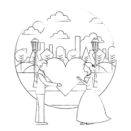 bride and groom holding heart wedding day in the park city vector illustration sketch  イラスト・ベクター素材