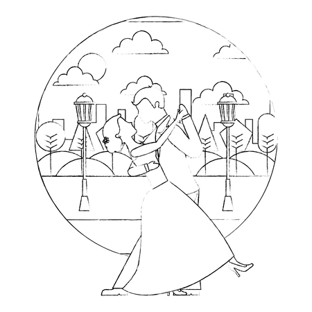bride and groom wedding day and first dance vector illustration sketch