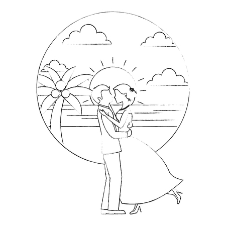 bride and groom wedding day and first dance in beach landscape vector illustration sketch