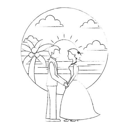 bride and groom holding hands in the beach vector illustration sketch Banque d'images - 114995232