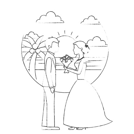 bride with bouquet and groom wedding day in beach vector illustration sketch