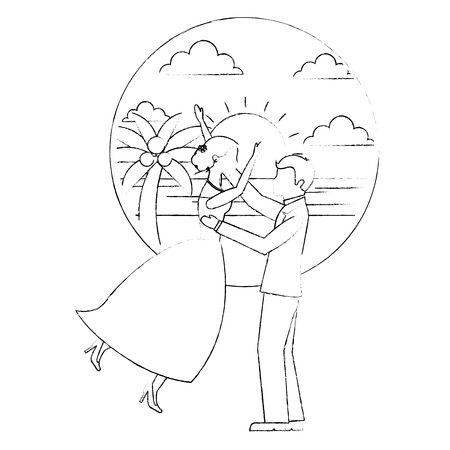 bride and groom celebrating wedding day in the beach vector illustration sketch