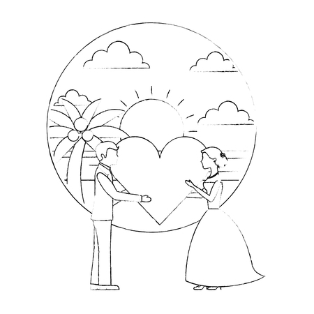 bride and groom holding heart wedding day vector illustration sketch