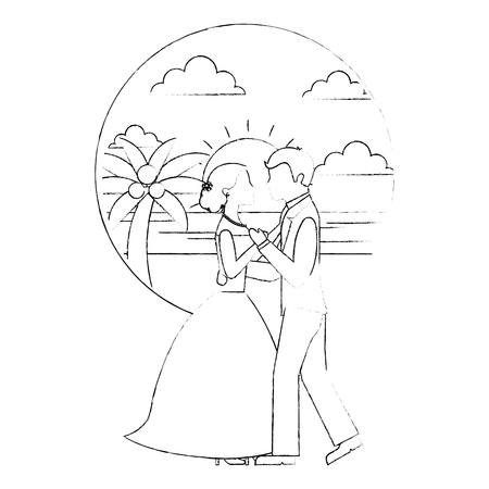 bride and groom wedding day and first dance in beach landscape vector illustration sketch Banque d'images - 114995238