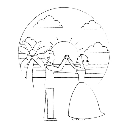 bride and groom wedding day and first dance in beach landscape vector illustration sketch Banque d'images - 104524110
