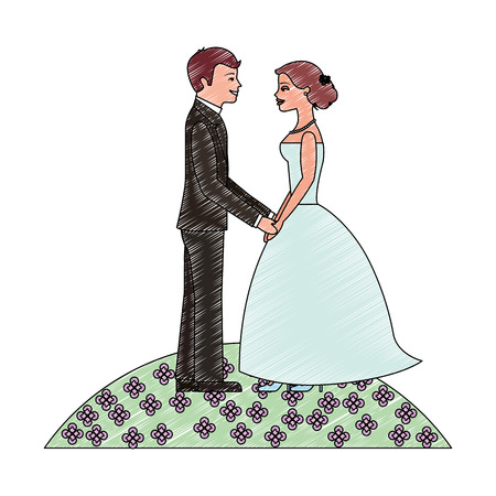 bride and groom holding hands in the field flowers vector illustration Standard-Bild - 114995244