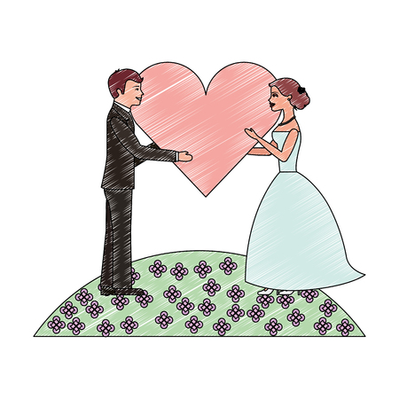 bride and groom with heart wedding day vector illustration