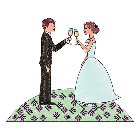 couple toasting wine glasses wedding day in the field flowers vector illustration Illustration