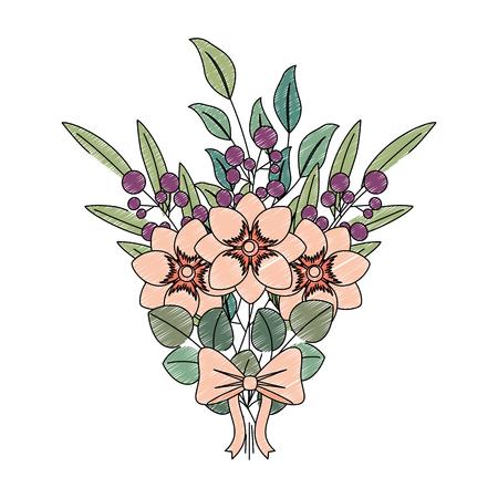 flowers bouquet arrangement floral ornament ribbon vector illustration Vector Illustration