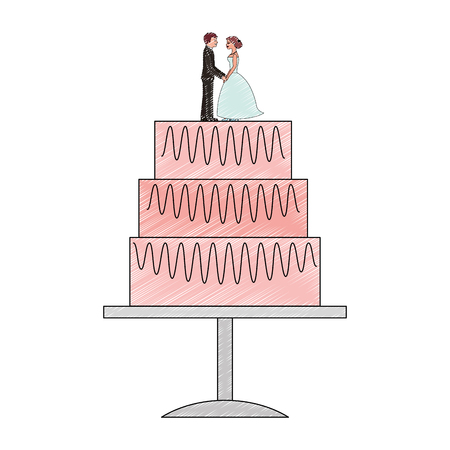 sweet wedding cake with couple dolls decoration vector illustration