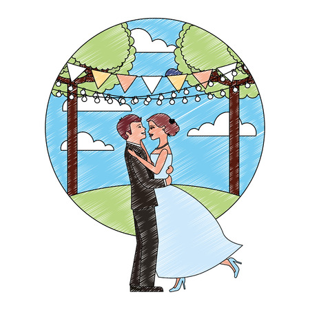bride and groom wedding and first dance in natural landscape vector illustration