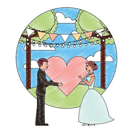 bride and groom with heart wedding day in natural scene vector illustration Foto de archivo - 114995263