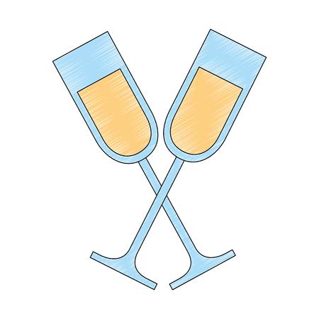 champagne or wine glasses drink beverage vector illustration Ilustração