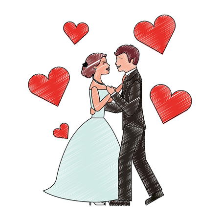 bride and groom wedding day and first dance love hearts vector illustration