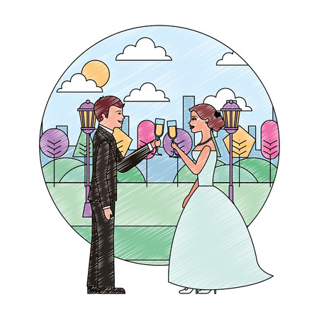 couple toasting wine glasses wedding day in the park city vector illustration Illustration