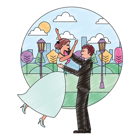 bride and groom celebrating wedding day in the park city vector illustration Illustration