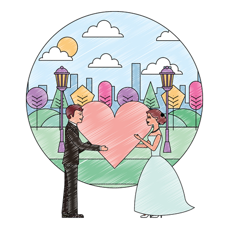bride and groom holding heart wedding day in the park city vector illustration