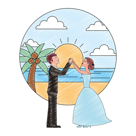 bride and groom wedding day and first dance in beach landscape vector illustration Banque d'images - 114995274
