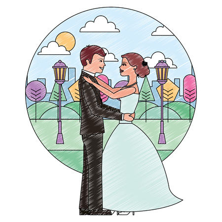bride and groom wedding day and first dance vector illustration