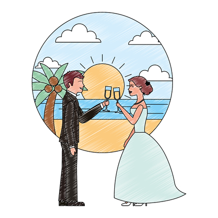couple toasting wine glasses wedding day in the beach vector illustration