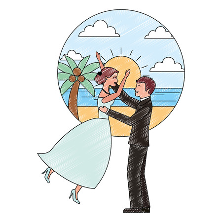 bride and groom celebrating wedding day in the beach vector illustration Banque d'images - 114995279