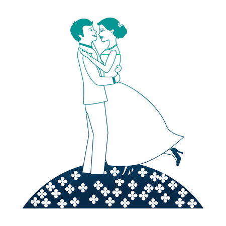 married couple in garden dancing isolated icon vector illustration design