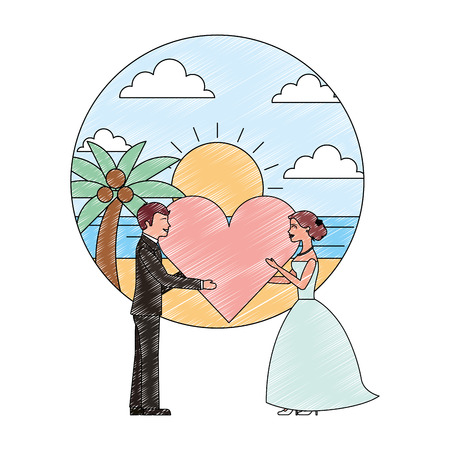 bride and groom holding heart wedding day vector illustration