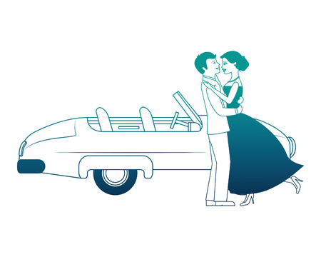 just married couple with car isolated icon vector illustration design