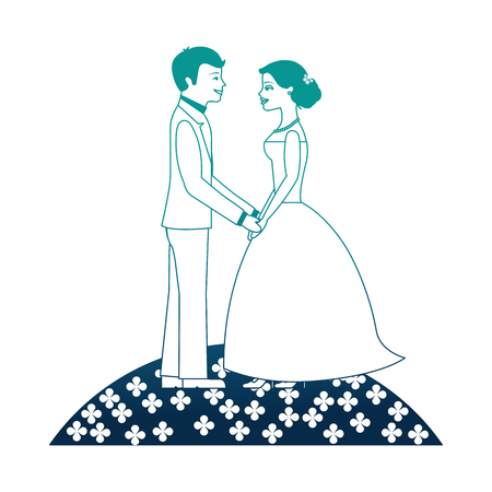 married couple in garden avatar character vector illustration design 向量圖像