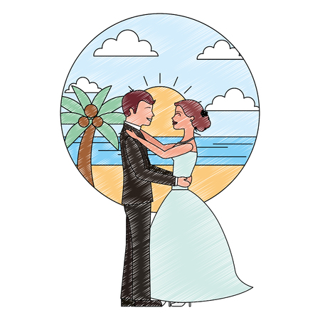 bride and groom wedding day and first dance in beach landscape vector illustration Banque d'images - 114995285