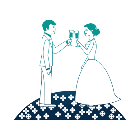 married couple in garden with cups celebrating icon vector illustration design
