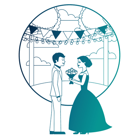 married couple in landscape with bouquet of flowers vector illustration design