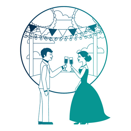 married couple in landscape with cups celebrating vector illustration design Иллюстрация