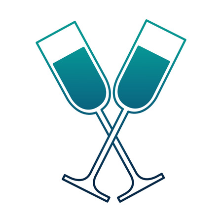 cup champagne crossed isolated icon vector illustration design