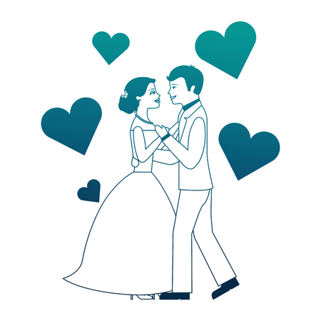 married couple dancing with hearts isolated icon vector illustration design Illustration