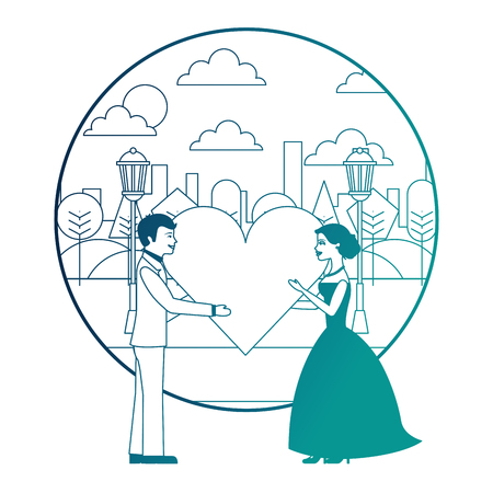 married couple in landscape with heart avatar character vector illustration design