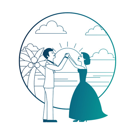 married couple dancing in beach isolated icon vector illustration design Banque d'images - 104525279