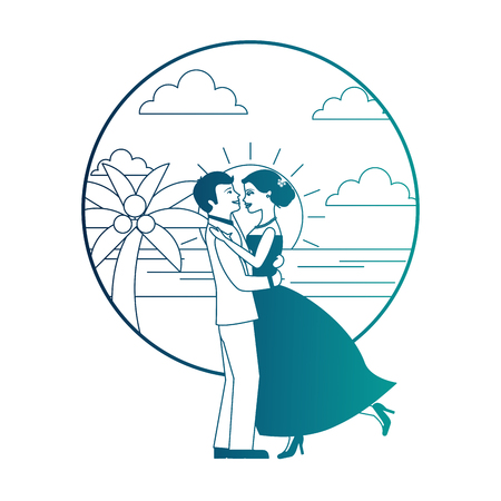married couple dancing in beach isolated icon vector illustration design Banque d'images - 104525283