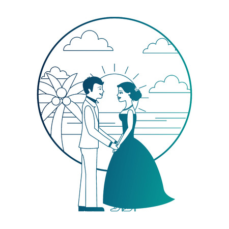 married couple in beach isolated icon vector illustration design Banque d'images - 104525282