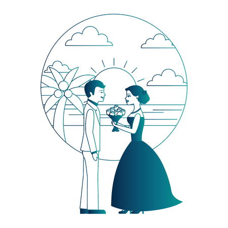 married couple in beach with bouquet of flowers vector illustration design