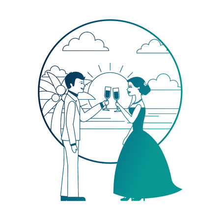 married couple in beach with cups celebrating avatar character vector illustration design Banque d'images - 104525100