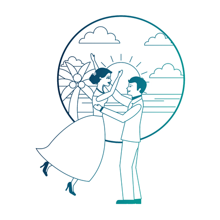 married couple celebrating in beach avatar character vector illustration design Banque d'images - 104525101