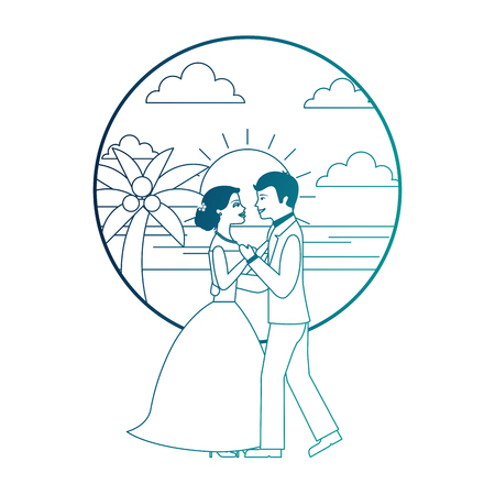married couple dancing in beach isolated icon vector illustration design Banque d'images - 104525103