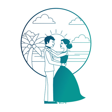 married couple dancing in beach isolated icon vector illustration design Banque d'images - 104525104