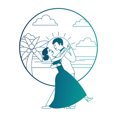married couple dancing in beach isolated icon vector illustration design Banque d'images - 104525105